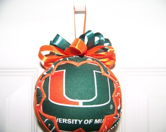University of Miami/ Hurricans Quilted Ornament