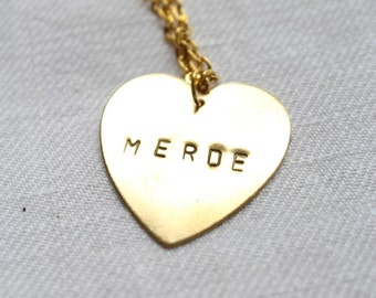 "Necklace medal minted heart ""Crap"""