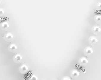 Fresh Water Pearl  Diamond Necklace, Ladies Necklaces, Pearl Necklace