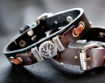 Tree of Life Bracelet, Mens Black Brown Leather Bracelet