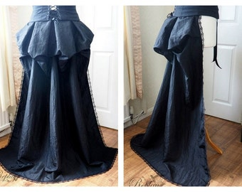 Bustle Train Victorian Steampunk Gothic Burlesque Overskirt Lace - Red, Purple, Olive Gold, Antique Gold, Copper, Ariel Green, Blue, Brown