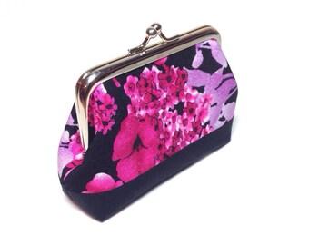 Pink purple floral coin purse