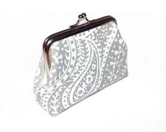 Grey paisley print canvas coin purse