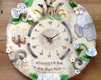 Wall Clock Custom Made Ceramic -  Wedding Design