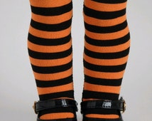 Orange and Black Striped Halloween Tights for 18 inch girl dolls, Perfect Fit pantyhose, witch accessories, Halloween costume, American made