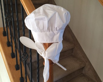 Baby Chef Hat with Neckerchief and Spoon - Adorable Photo Prop