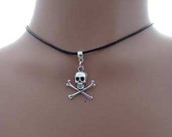 Antique silver 25mm Skull and Crossbones on a 2mm Wax Cord Choker (Adjustable)
