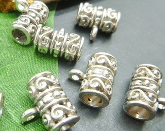 Antique Silver Bails - Charms Pendant Holders -10 pc lot -  Ornate Spacer Beads - Tibetan Silver Findings - PB07