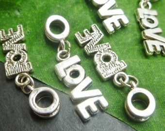 Lot of 5 LOVE charms for European Style Charms Bracelets - Large Hole Metal Beads - Antique Silver Tone Charms - EC060