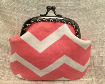Pink and White Chevron Coin Purse