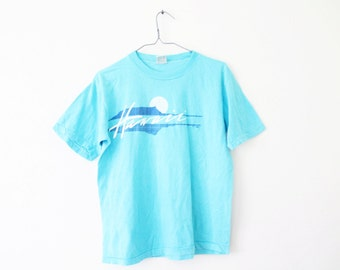 LARGE Vintage 1980s Hawaii Poly Tees Graphic T-Shirt
