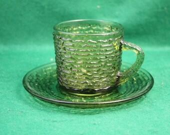 Vintage Anchor Hocking Soreno Avocado Green cup and saucer .