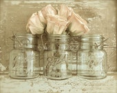 "Shabby Rose Print, Mason Jar Photo, Sepia French Country Art, Romantic Chic, Rustic Country Kitchen Farmhouse Cottage- ""Peach Blossoms"""