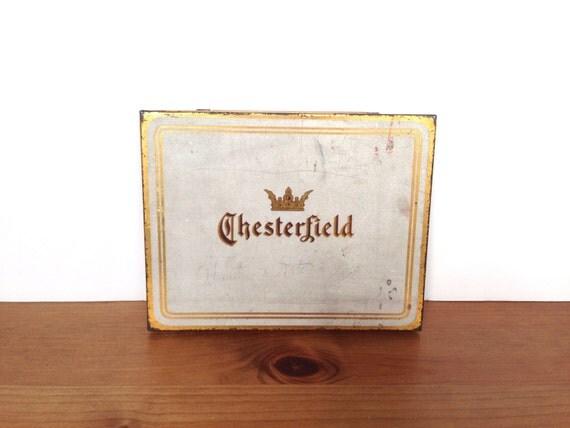 Vintage Chesterfield Cigarette tin rustic decor tobacciana repurpose