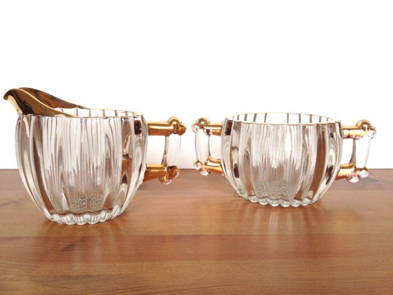 Vintage Jeanette glass creamer and sugar bowl ribbed with gold trim National