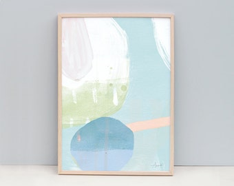 Large Print, Large Blue Art Print, Pastel Color Painting, Light Blue Art Print, Pastel Color Modern Art, Abstract Painting, Abstract Art