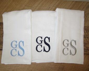 Monogrammed Burp Cloth - Set of 3