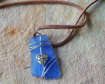 Recycled Blue Wire Wrapped Glass Pendant Necklace, Eco Chic, Eco Friendly Jewelry, Gift Idea, Her Women, Simple Necklace, Jewelry for Sale