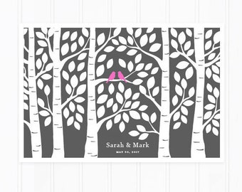 Guest Book Tree, Wedding Guest Book Alternative Poster, Guestbook for 125 Signatures
