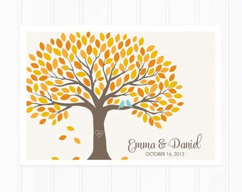 Guest Book - Guest Book Alternative for 150 Guest Signatures - Fall Guest Book Tree
