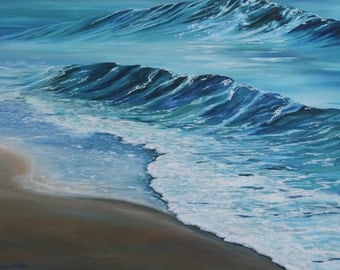 Large Original Painting with Ocean Waves and Beach