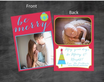 Trendy Christmas Card | May You Days Be Merry And Bright | Double Sided | 2 Sided | DIY | Or Let me Print | Merry Christmas