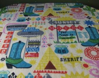 southwest travel theme large fleece blanket, vacation blanket, adult bedding