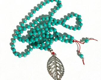 Turquoise Mala Beads Long Beaded Necklace Boho Jewelry Leaf Pendant Necklace Turquoise Necklace Handknotted Mala Necklace