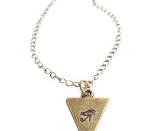 Evil Eye Necklace Triangle Necklace Boho Jewelery Yoga Inspired Yoga Necklace Yoga Gifts Everyday Necklace Dainty Minimalist Bronze Necklace