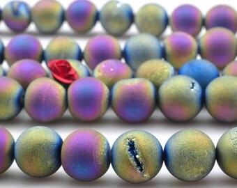 48 pcs of Titanium Coated Agate matte round beads in 8mm