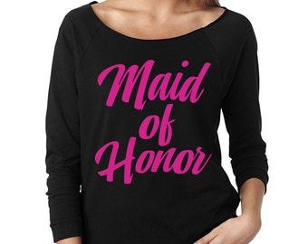 Maid of Honor Slouchy Tee - MOH - Pink Lettering - 3/4 Sleeve Raglan T Shirt - Item 1815