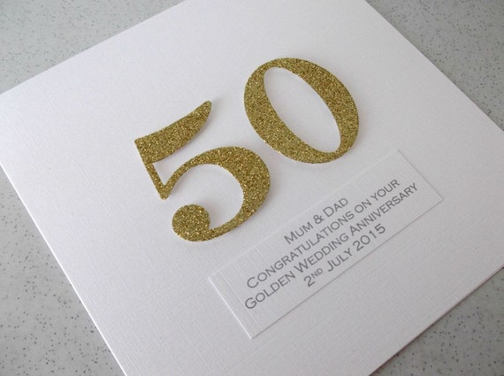 Handmade th golden wedding anniversary card personalized