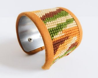 Cuff bracelet vintage handmade canvas plum