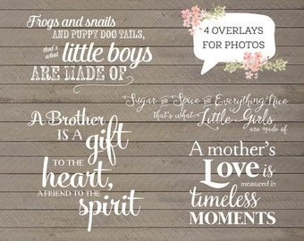 4 Word Overlays - Family Child Phrases Photo Overlay - Text Photo Overlay - Quote Child Mother Photo Words Phrase INSTANT DOWNLOAD