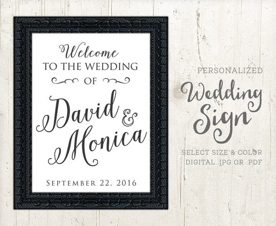Welcome Sign Wedding Ceremony Personalized Black And White