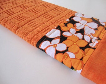 Decorative Kitchen Dish Towels - Fabric Trimmed Hand Towel - Tea Towel - Bath Hand Towel - Orange Black Floral Dish Towel