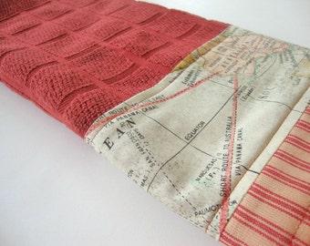 Decorative Kitchen Dish Towels - Fabric Trimmed Hand Towel - Tea Towel - Bath Hand Towel - Red Dish Towel - Old Map Australia