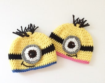 Crochet baby minion hat / minion beanie / baby beanie / baby hat / photo prop /