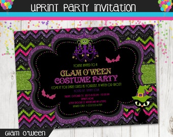 Halloween Glam - Costume Party Glitter Invitation - Printable -