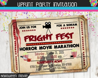 Fright Fest  Horror Movie Marathon - Movie Ticket Invitation - Halloween- Printable - Scary Movie Night