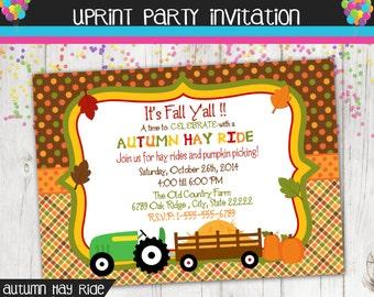 Autumn Hay Ride - Fall Hay Ride - Party Invitation - Printable -