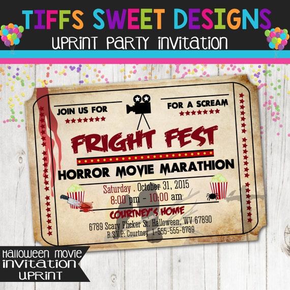 Fright Fest Horror Movie Marathon Movie Ticket Invitation – Scary or Horror Invitation Cards