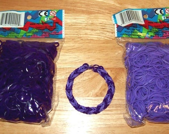 Rainbow Loom® Authentic Rubber Bands, Deep Purple and Purple - Set of Two 600-Band Packages with 24 C-Clips and a FREE BRACELET!