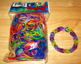 Rainbow Loom® Authentic Rubber Bands, Jelly Mix - 600-Band Package with 24 C-Clips and a FREE BRACELET!