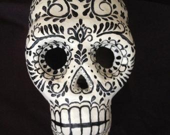 Hand Painted Paper Mache  Sugar Skull for Dia de los Muertos