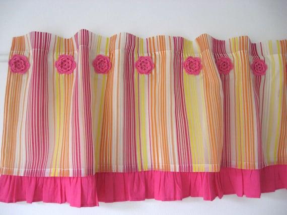 pink ruffle yellow orange striped organza curtain kids girls. Black Bedroom Furniture Sets. Home Design Ideas
