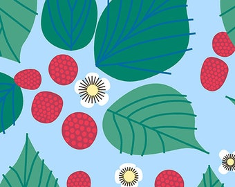 Strawberries in Light Blue- The Lovely Hunt- by Lizzy House forAndover Fabric