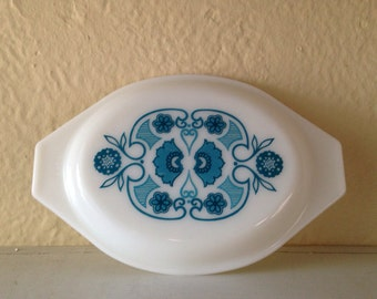Mid Century Modern Pyrex Milk Glass Lid Only Blue Horizon Pattern for Casserole Dish 943C5