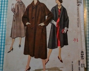 Vintage  McCall's pattern 4261 for loose fitting coat. Bust 36 inches. 1957