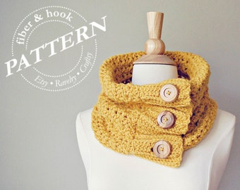 CROCHET PATTERN -  Boho Button Cowl, Crochet Cowl Pattern, Easy Crochet Scarf Pattern, Knit Look (Toddler, Youth, Adult sizes) pdf #044S